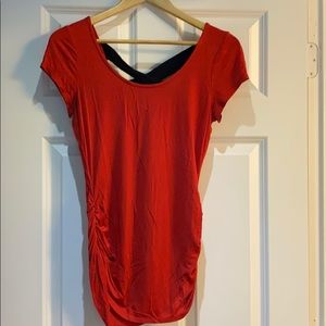Maurice Red Long Tee with Black Cross Back